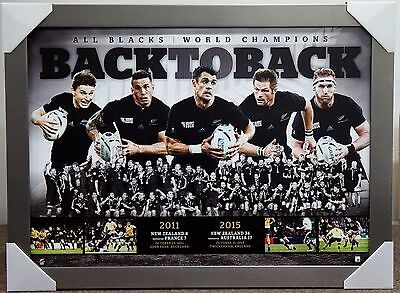 All Blacks Rugby 2015 World Cup Print Framed New Zealand Xmas Gift Back To Back