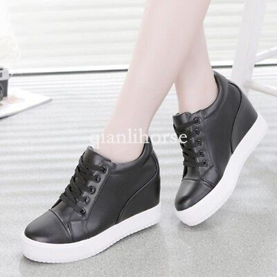 d931e45b34a Fashion Womens Lace Up Hidden Wedge Heel Platform Trainer Tennis Shoes  Sneakers