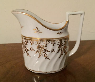 Antique 18th c. English Worcester Porcelain Creamer Jug Gold White George III