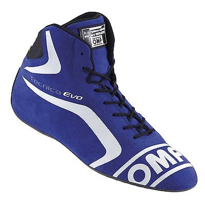 OMP Tecnica Evo FIA Approved Suede Race / Rally Boots Blue - UK 7 / Eur 41