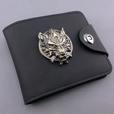 Black color Anime Final Fantasy PU leather wallet/purse w/ Claud wolf metal mark