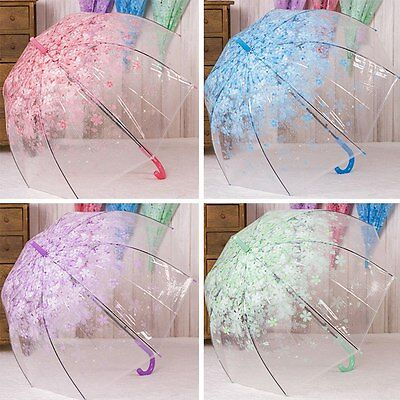 New Lady Long-handled Floral Umbrella Transparent Clear/Rain Cage Clear Parasol