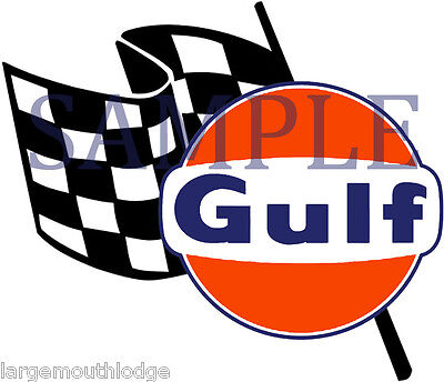 4 Inch Gulf Racing Checkered Flag Gasoline Oil Decal Sticker Left