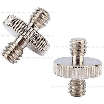 2x 1/4'' to 1/4'' Male Threaded Screw Adapter For Camera Tripod Monopod Ballhead