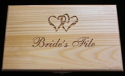 Laser Engraved Wooden Bride's File Box (Double Heart)