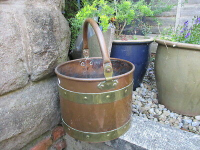 Vintage Copper Bucket Planter Tub Plant Pot Rivets Brass Straps Antique Style