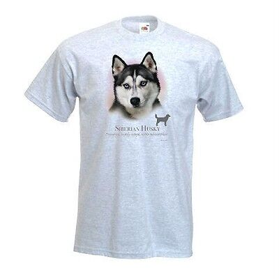 Siberian Husky Printed Design No 17417, Printed T-Shirt White or Ash Grey