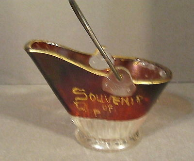 Old EAPG Souvenir Ruby Red Flash Glass Coal Bucket
