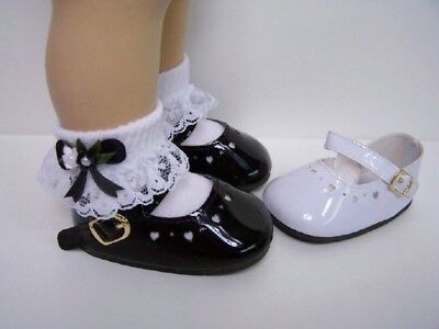 BLACK Patent Mini Heart Cut-Out Mary Jane Doll Shoes For Chatty Cathy (Debs)
