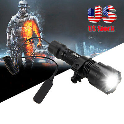 5000lm CREE T6 LED Tactical Flashlight+Pressure Switch with Picatinny Rail Mount