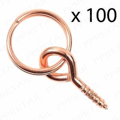 100 x Copper Picture Photo Frame Screw Ring Hanging Hanger Canvas Hook D Bracket