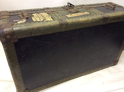 Stunning vintage Wooden trunk case With Metal Clasps Original Stickers And Key