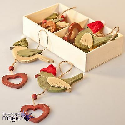 Gisela Graham Box Of 6 Wooden Bird With Wooly Hat Christmas Tree Decorations