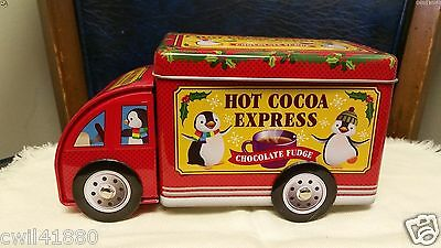HOT COCOA Christmas Holiday Penguin EXPRESS TRUCK Piggy Bank Tin Container