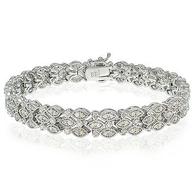1.00 CTTW Natural Diamond Marquise Bracelet in Gold or Silver Plated Brass
