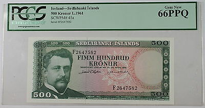 L.1961 Iceland Sedlabanki Islands 500 Kronur Note SCWPM# 45a PCGS 66 PPQ Gem New