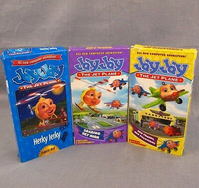 Jay Jay the Jet Plane VHS Lot of 3 Animated Videos Soaring Sky High Herky Jerky