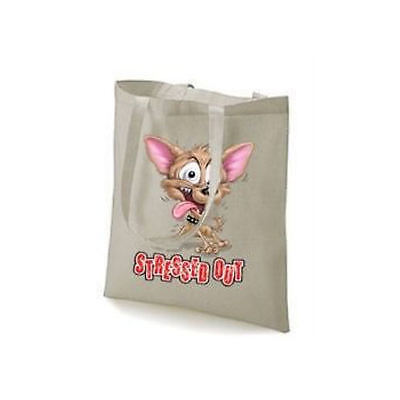 Chihuahua Stressed Out Dog Design Printed Tote Bag