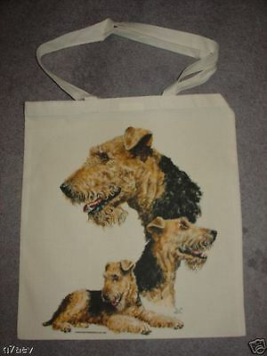 3 Airedale Terrier Dogs  On  A Tote Canvas Bag