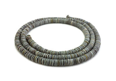 Grey Oyster Shell Heishi Beads (2 - 3 mm / 24 Inches Strand)