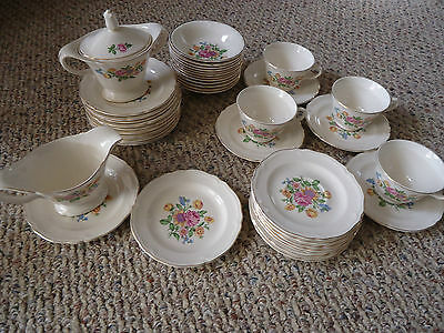 Vtg Knowles Williamsburg 44 Dishes, Bowls, Saucers, Cups, Cream, Sugar, 52-3 &4