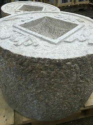 Japanese garden granite antique millstone 4 word coin basin lantern zen water