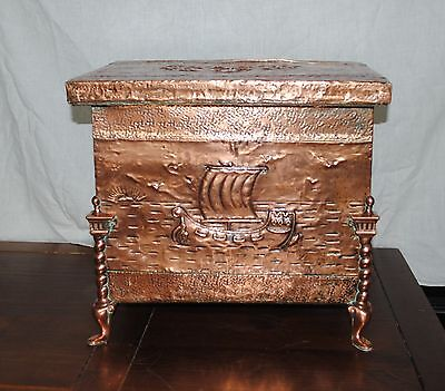 Antique Embrossed Wood / Copper Fireplace Coal Box Scuttle
