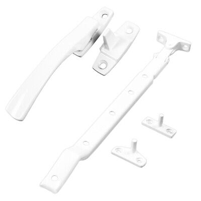 "White Window Casement 10"" STAY or 4"" FASTENER Lever Arm Pull Handle Lock Catch"