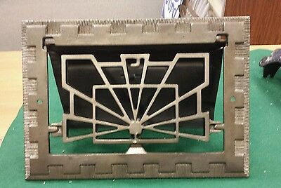 Fancy Vintage Cast Iron floor wall heat grate no louvers Art Deco pattern (#5)