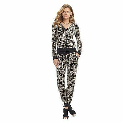 31b42b4bba29 NWT Authentic Women Juicy Couture Velour Hoodie Jacket or Pants Set Leopard  Brn
