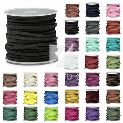 5m/Roll 30m Faux Suede Cord Wire Thread String DIY Jewelry Making 3mmx1.5mm
