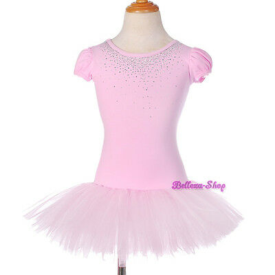 Pink Girl Puff Sleeves Ballet Tutu Dancewear Fairy Dress Costume Size 3T-8 BA056