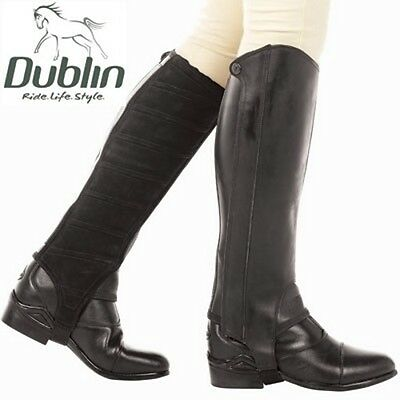Dublin Defy Leather/Suede Half Chaps -Brown size small short