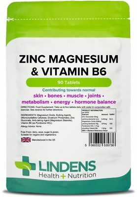 Zinc Magnesium B6 90 Tablets; muscle, energy, testosterone [Lindens 5736]