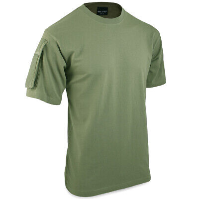 Mil-Tec Military Army SAS Tactical T-Shirt Top w/ Patch Arm Pockets Green S-XXL
