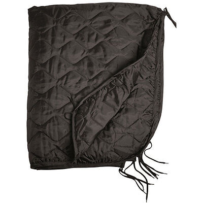 Army GI Rip-Stop Poncho Liner Camping Packable Quilted Picnic Blanket Mat Black