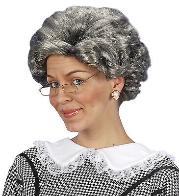 Old Granny Gangster Agatha Wig Grey Woman Fancy Dress Accessory