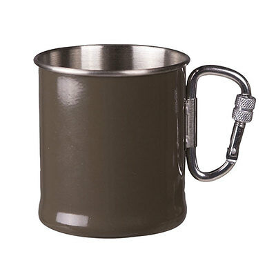 Mil-Tec Stainless Steel Carabiner Handle Camping Drinking Cup Mug 250ml Green