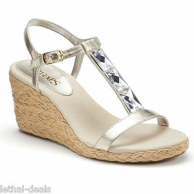 51830202f1f LANDS' END WOMEN'S Tan Espadrille Wedge Sandals Wrap Ankle Straps ...