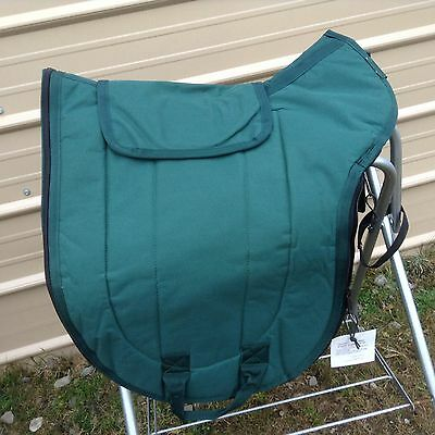 Green nylon padded english sadde carrier /cover w/bridle/girth pouches