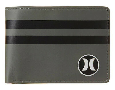 "Brand New + Tag Hurley Mens / Boys Tri-Fold Wallet ""block Party"" Grey Black"