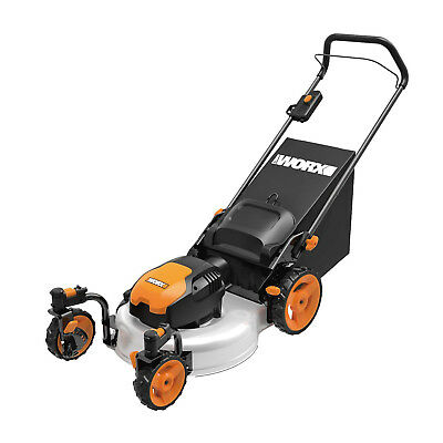WORX WG719 120-Volt 19-inch 13-Amp Electric 3-in-1 Lawn Mower with Caster Wheels