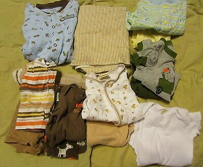 Lot of 13 infant boy clothes NB 0-3M 3M 0-6M sleeper body suit shirt pant shorts