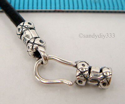 1x OXIDIZED STERLING SILVER BEADING 2mm CORD END CAP EYE HOOK CLASP #1963