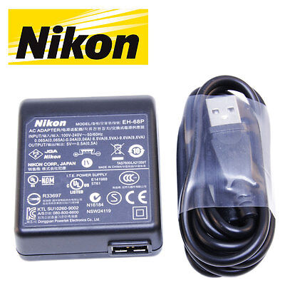 Genuine Nikon Battery Charger Cradle AC Adapter + USB Cable for Coolpix Series