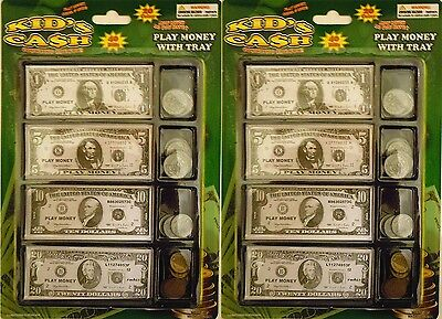 Play Money Set with Bills & Coins in Tray - 60 Pieces Fake Currency (2 Pack)