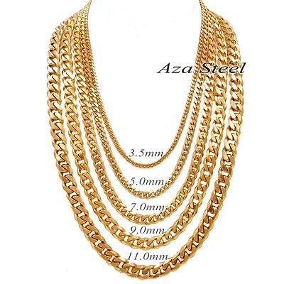 """Bright Gold 3.5/5/7/9/11mm 18-40"""" MENS Boys Stainless Steel Curb Chain Necklace"""