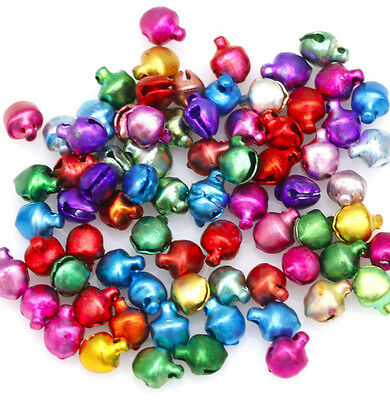 50Pcs Small Colorful Little 6/8mm Steel Jingle Bell Dangle Charms With Loop DIY