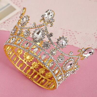 7cm High Full Crystal Gold Wedding Bridal Party Pageant Prom Tiara Crown