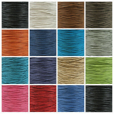 WAXED COTTON CORD 1.0mm 1.5mm & 2mm *28 COLOURS CRAFT JEWELLERY MAKING STRINGING